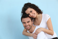 Woman embracing her boyfriend Royalty Free Stock Photography