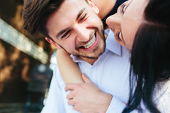 Woman Embracing Her Boyfriend From Behind Royalty Free Stock Photos