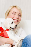 Woman embracing labrador puppy with red ribbon Royalty Free Stock Photography