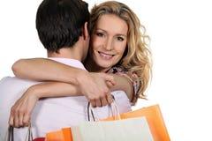 Woman embracing man Stock Photography