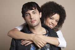 Woman Embracing Man From Behind Royalty Free Stock Images