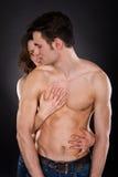Woman embracing passionate man Stock Photo