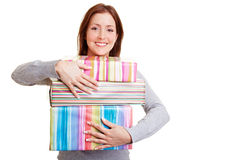 Woman embracing presents Stock Image