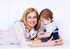 Woman embracing son Royalty Free Stock Photo