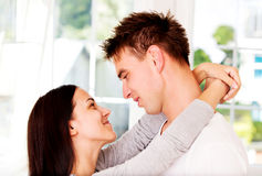 Woman embrancing her lover. Valenine`s day. Love time.. Stock Photography