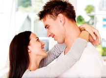 Woman embrancing her lover. Valenine`s day. Love time.. Stock Photos