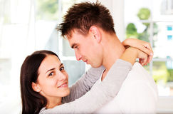 Woman embrancing her lover. Valenine`s day. Love time.. Royalty Free Stock Photography