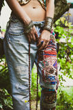 Woman in embroidered jeans Royalty Free Stock Images