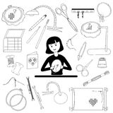 Woman embroiders and accessories Stock Photography
