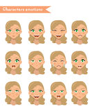 Woman emotion face set. Stock Photos