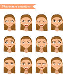 Woman emotion face set. Royalty Free Stock Photography
