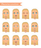 Woman emotion face set. Royalty Free Stock Photos
