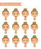 Woman emotion face set. Stock Images