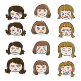 Woman Emotion Face Vector. Woman Emotion Face Set Vector Royalty Free Stock Images