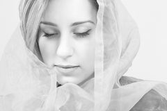 Woman emotions. Woman sensitive emotions, face closeup in monochrome stock images