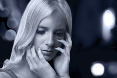 Woman emotions. Beautiful woman, sad emotions and feelings stock images