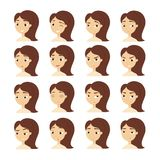 Woman emotions set. Fun and anger, sadness and joy Stock Image