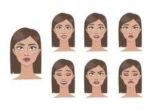 Woman emotions set. Young beautiful woman with makeup Stock Photos