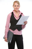 Woman employee holding document and folder. Isolated on white Stock Photography