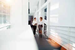 Woman employee holding touch pad and talk about ideas to the partner while walking in office hall interior, Stock Images