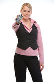 Woman employee showing calculator Stock Images