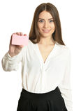 Woman and empty blank card Royalty Free Stock Photos
