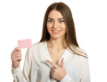 Woman and empty blank card Stock Image