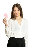 Woman and empty blank card Royalty Free Stock Photo