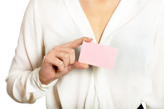 Woman and empty blank card Stock Photography