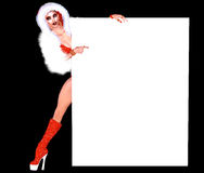 Woman with Empty board, white board for Christmas and the Holidays Stock Photography