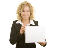 Woman with empty cardboard. Blonde business woman holding an empty cardboard stock images