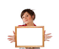 Woman with empty frame Royalty Free Stock Photo
