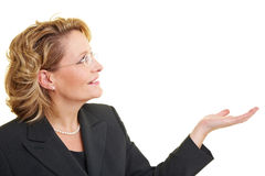 Woman with empty hand. Business woman holding up her empty hand royalty free stock image