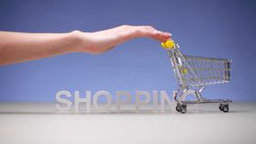 Woman with empty market trolley on background word shopping. Thrifty shopping. In a supermarket on sale and discounts in store for family stock footage