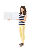Woman with empty notebook Stock Images