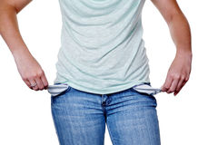 Woman with empty pockets Royalty Free Stock Images