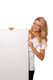 Woman with empty poster to advertise the opening Stock Photography