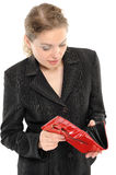 Woman with empty purse Royalty Free Stock Image