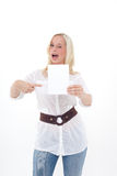 Woman with empty sheet Stock Photo