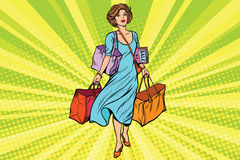 Woman with empty shopping bags Royalty Free Stock Photo
