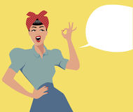 Woman and empty speech balloon. Pin up retro style Royalty Free Stock Photos