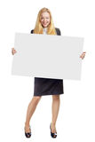 Woman With Empty White Board Royalty Free Stock Photos