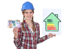 Woman with energy consumption sign Royalty Free Stock Photos