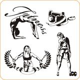 Woman engaged in fitness - vector illustration. Royalty Free Stock Image