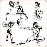 Woman engaged in fitness - vector illustration. Stock Photography