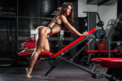Woman engaged in a gym. Beautiful sexy strong athletic brunette woman engaged in a gym on simulators Royalty Free Stock Photos