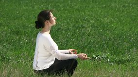 Woman Engaged In Meditation stock footage