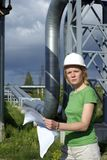 Woman engineer or architect  with drawings Stock Photo