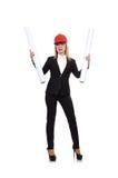 Woman engineer with blueprint Stock Photos