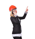 Woman engineer with cellular Stock Photos